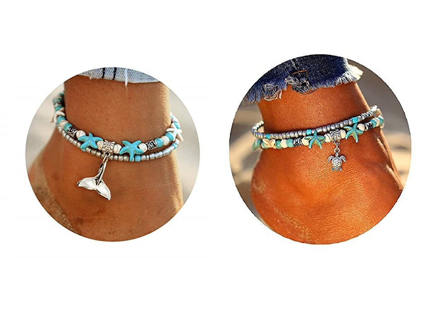 Stylish Lady Sea Beach Foot Anklets Bracelet,Multi-Layer Charm Beads Size Adjustable Handmade Starfish Anklet,Anti-Allergy Anti-Color Fading