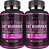 (2 Pack) Night Time Fat Burner - Effective Weight Loss Pills - Powerful Fat Burners for Women - Sleep Aid Diet Pills, Appetit
