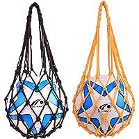Sprießen Bolso de Red de Fútbol Bolso de Malla de Balones de Nailon 2 Pcs Carry Net Bag de Transporte con Asas para…