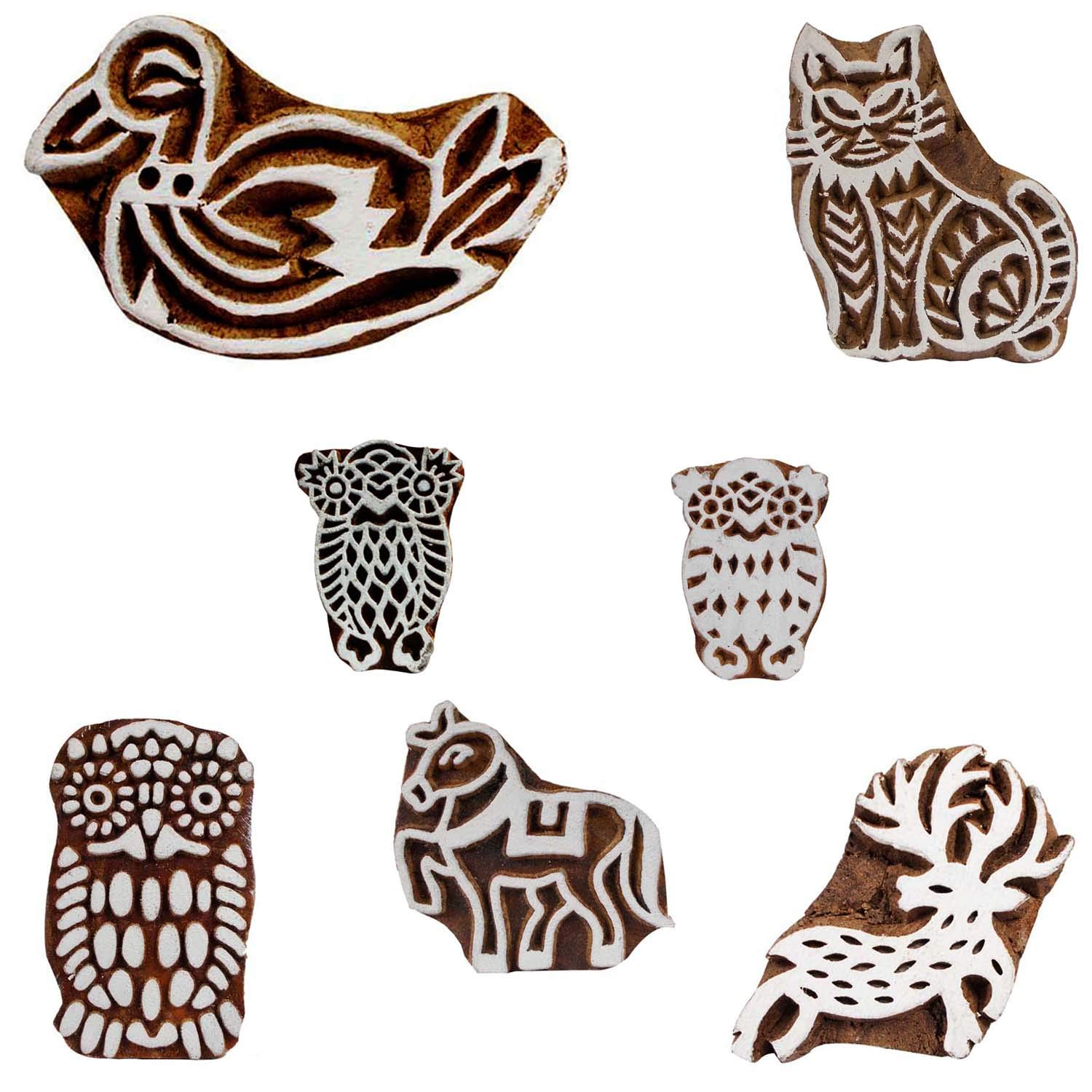 Handmade Printing Block Wooden Birds and Animals Textile Clay Pottery Scrapbook Stamps Blocks Pack of 7
