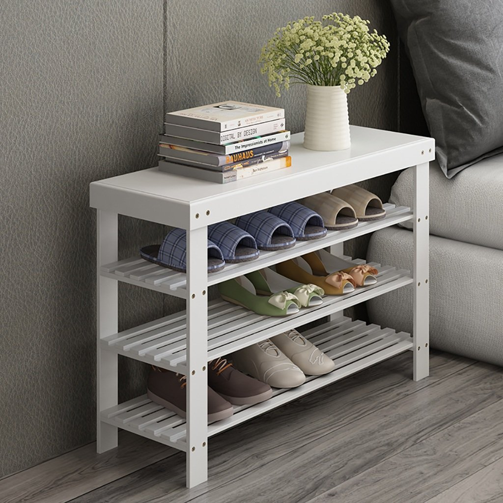 62MJ Simple Shoe Rack Multi-Layer Dustproof Solid Wood Bamboo Storage Rack Home Economic Shoes White Shoes Rac by 62MJ
