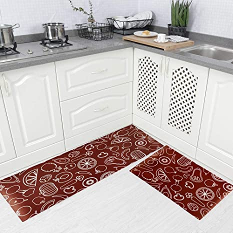Fine Carvapet 2 Pieces Comfort Anti Fatigue Kitchen Standing Desk Mat Waterproof Decorative Ergonomic Floor Pad Kitchen Rug Fruitsvegetables Design Download Free Architecture Designs Scobabritishbridgeorg