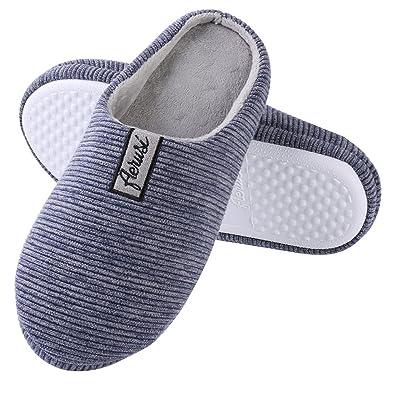 Aerusi Womens Cotton Stripe Plush Close Toe Memory Foam Indoor Slip On Clog Slipper Bedroom Indoor House Mule Shoes