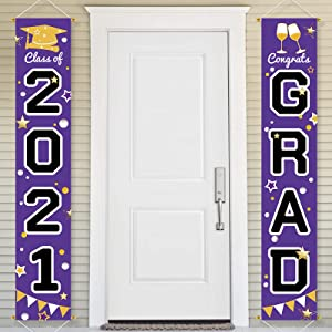 Bunny Chorus Graduation Decorations 2021 Porch Sign Set, Congrats Grad Class of 2021 Home for Outdoor Indoor, Purple Black Hanging Banner Yard Porch Decor Party Decoration Ornament