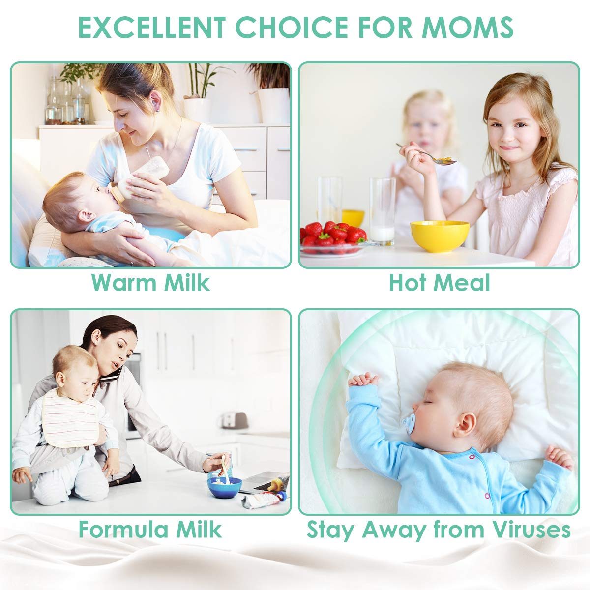 EIVOTOR 【Large Size】 Electric Steam Sterili-zer with LED Display Accurate Temperature Control for Breastmilk or Formula BPA Free Baby Bottle Warmer Dry Sterilizer Steam
