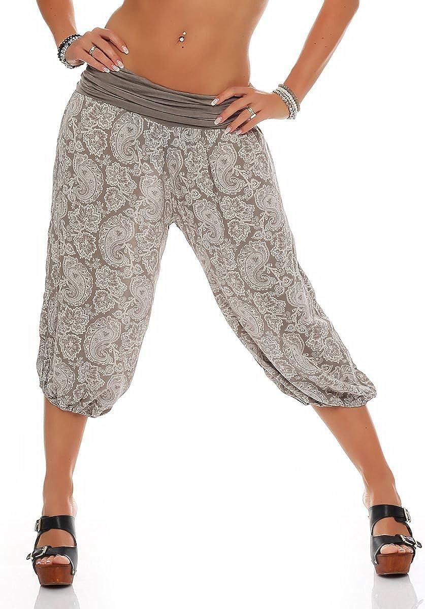 Malito 8581 - Pantalones capri para mujer con estampado oriental, para bailar, bombacho para relajarse, para tiempo libre