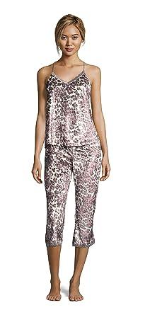 c3eb033ac0fb Nanette Lepore Womens Lace Trim Racerback Tank and Capri Pants Pajama Set  Animal Small