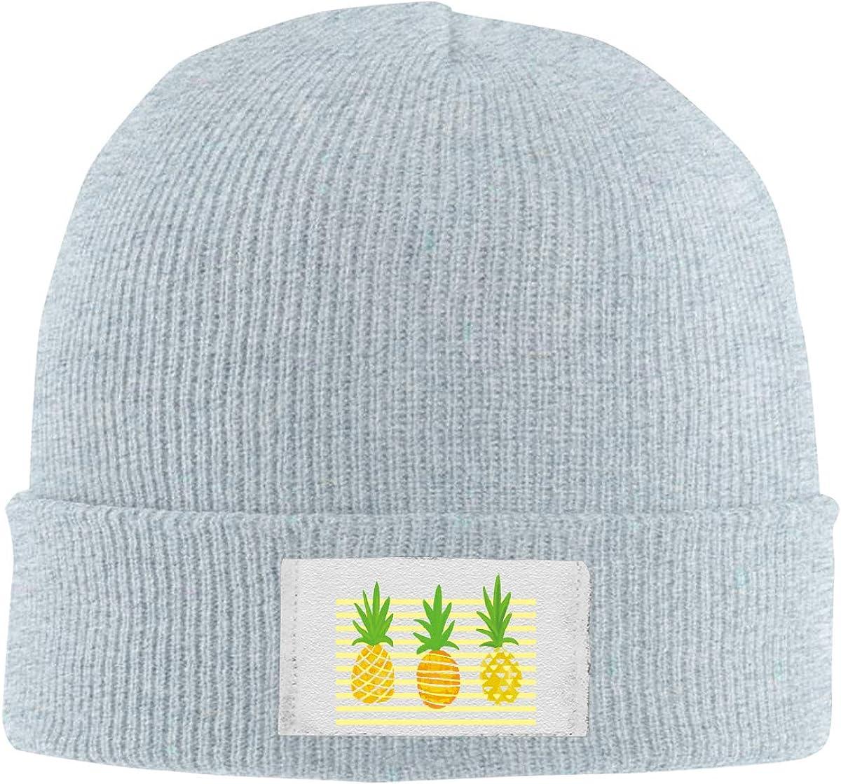 Dunpaiaa Skull Caps Abstract Pineapple Winter Warm Knit Hats Stretchy Cuff Beanie Hat Black