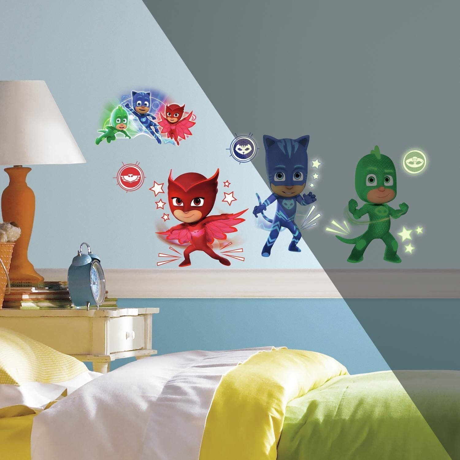 Amazon.com: PJ Masks Peel and Stick Wall Decals with Glow-in-the-Dark Elements: Home & Kitchen