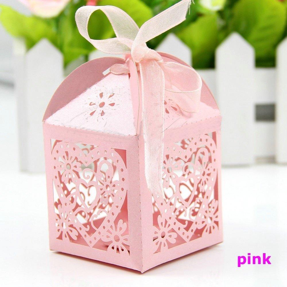 Amazon.com: Zorpia 50pcs Love Heart Laser Gift Candy Boxes Wedding ...