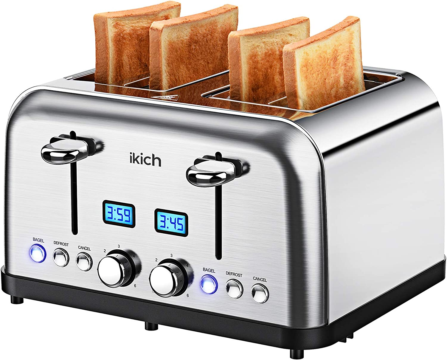4 Slice Toaster, IKICH Toaster Stainless Steel, Digital Countdown Toasters(6 Bread Settings, Bagel/Defrost/Reheat/Cancel, 4 Slots, Crumb Tray, 1500W)
