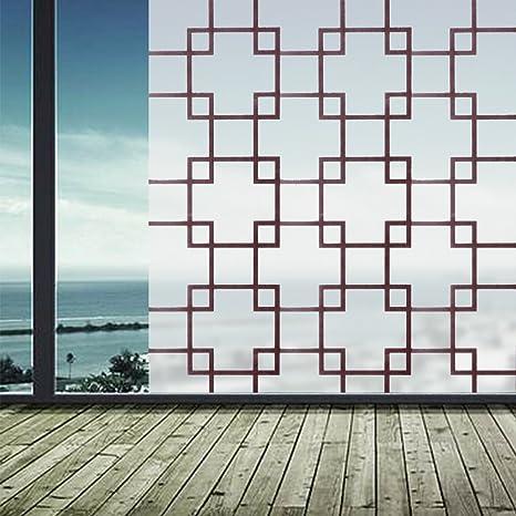 Buy 100cm PVC Self-Adhesive Glass Film Brown Lattice Window