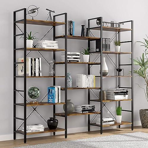oneinmil Triple Wide 5-Shelf Bookcase Industrial Vintage Wood Style Large Open Bookshelves