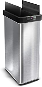 Home Zone Kitchen 68 Liter / 18 Gallon Stainless Steel Sensor Trash Can, Touchless Automatic Opening Lid