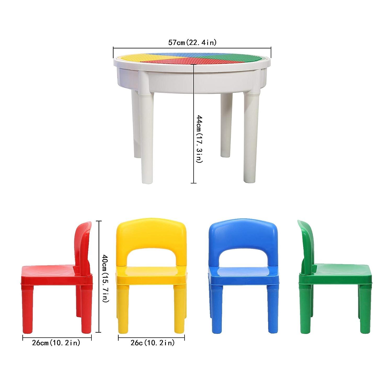 SEIGNEER 4 IN 1 Kinder Tisch und Stuhl Kinder Spieltisch Kindermbel Kindertisch mit 4 St/ühlen Aufbewahrungsbox and Water