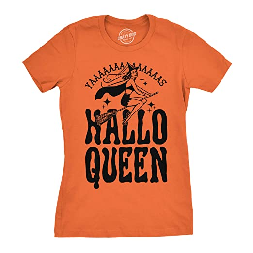 2e67c1ce Crazy Dog T-Shirts Womens HalloQueen Shirt Funny Halloween Queen Tee for  Ladies Cute Costume