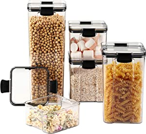 Airtight Food Storage Containers, Cereal Pantry Storage Sets of 5, Kitchen Food Storage Canister Containers with Silicone Sealing Ring for for Candy, Cookie, Rice, Sugar, Flour, Pasta, Nuts