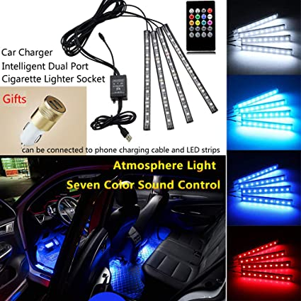 Music Car Strip Light Car LED Strip Lights Under Dash Lighting Kit Interior Multi Color with Sound Active Function and Wireless Remote Control Car Charger Included