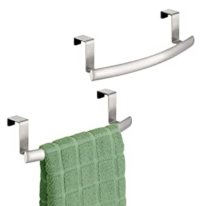"mDesign Modern Metal Kitchen Storage Over Cabinet Curved Towel Bar - Hang on Inside or Outside of Doors, Organize and Hang Hand, Dish, and Tea Towels - 9.7"" Wide, 2 Pack - Brushed Steel"