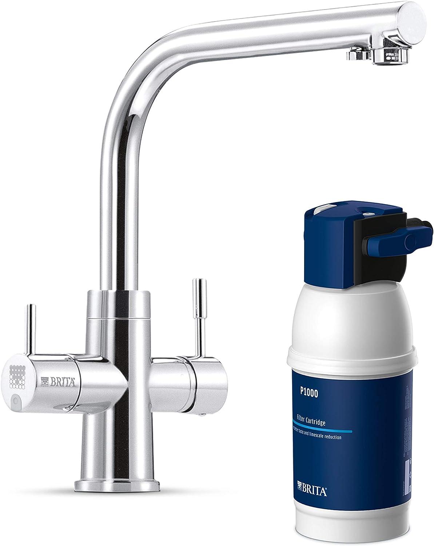 BRITA Armatur mit integriertem Wasserfilter WD 16, 16 Wege Wasserhahn mit  Filter zur Reduzierung von Kalk, Chlor und geschmacksstörenden Stoffen im