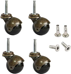 "AAGUT 2"" Ball Casters Stem Caster Wheels Set of 4 with 5/16"" x 1-1/2"" (8 x 38mm) with Metal Sockets Replacement Vintage Antique Swivel Wheel for Sofa, Chair, Cabinet"