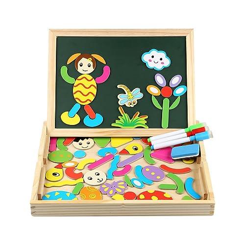 Puzzles en Bois Magnétiques | Puzzle avec Tableau Double Face Aimanté | Planche à Dessin avec Stylos Colorés | Innoo Tech | Puzzle de 70 Pièces | Jouet et Cadeau Educatif pour Enfants 3 Ans et Plus