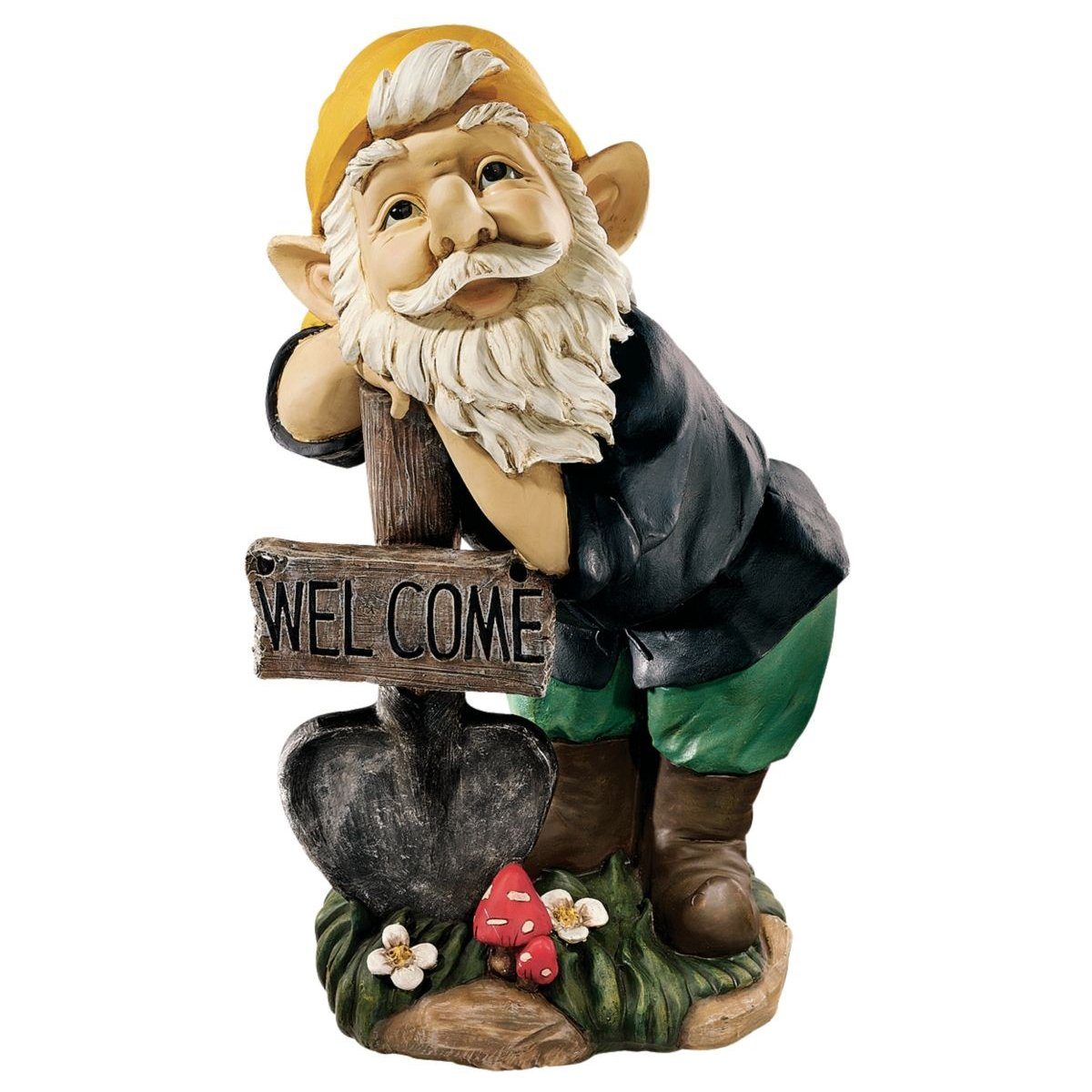 Garden Gnome Statue - Black Forest Welcoming Garden Gnome - Lawn Gnome Design Toscano JE10111601