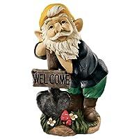 Garden Gnome Statue - Black Forest Welcoming Garden Gnome - Lawn Gnome