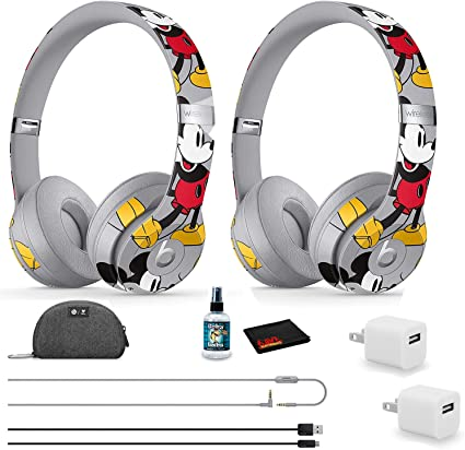 Amazon Com Beats By Dr Dre Solo3 Wireless Headphones 2 Pack Mickey S 90th Anniversary Edition With Headphone Cleaner More Home Audio Theater