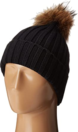 b45b3031f8e Hat Attack Women s Chunky Rib Beanie With Snap-Off Faux Pom and Extra  Hangoff Black