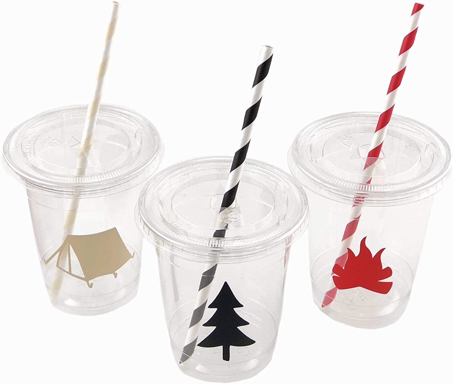 Camping Cups - Camp Party Supplies Lumberjack Birthday Baby Shower Set of 12