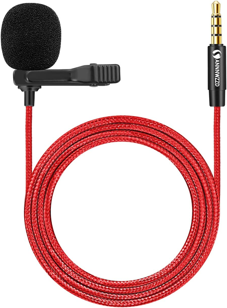 ANNNWZZD Microphone 3.5mm,4.9FT Clip On Microphone for Phone for Recording Interview, Podcast, Speech, Video, YouTube - External Mic for iPhone, Android, Laptop,Mic 3.5mm