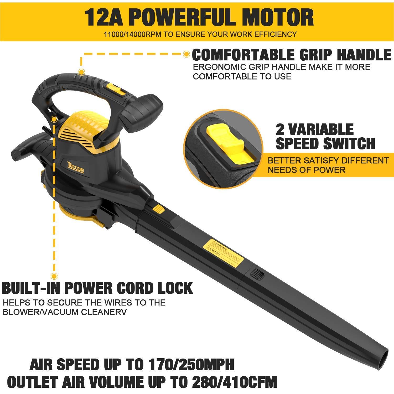 Amazon.com: TECCPO 3-in-1 Blower/Vacuum/Mulcher, 12 Amp ...