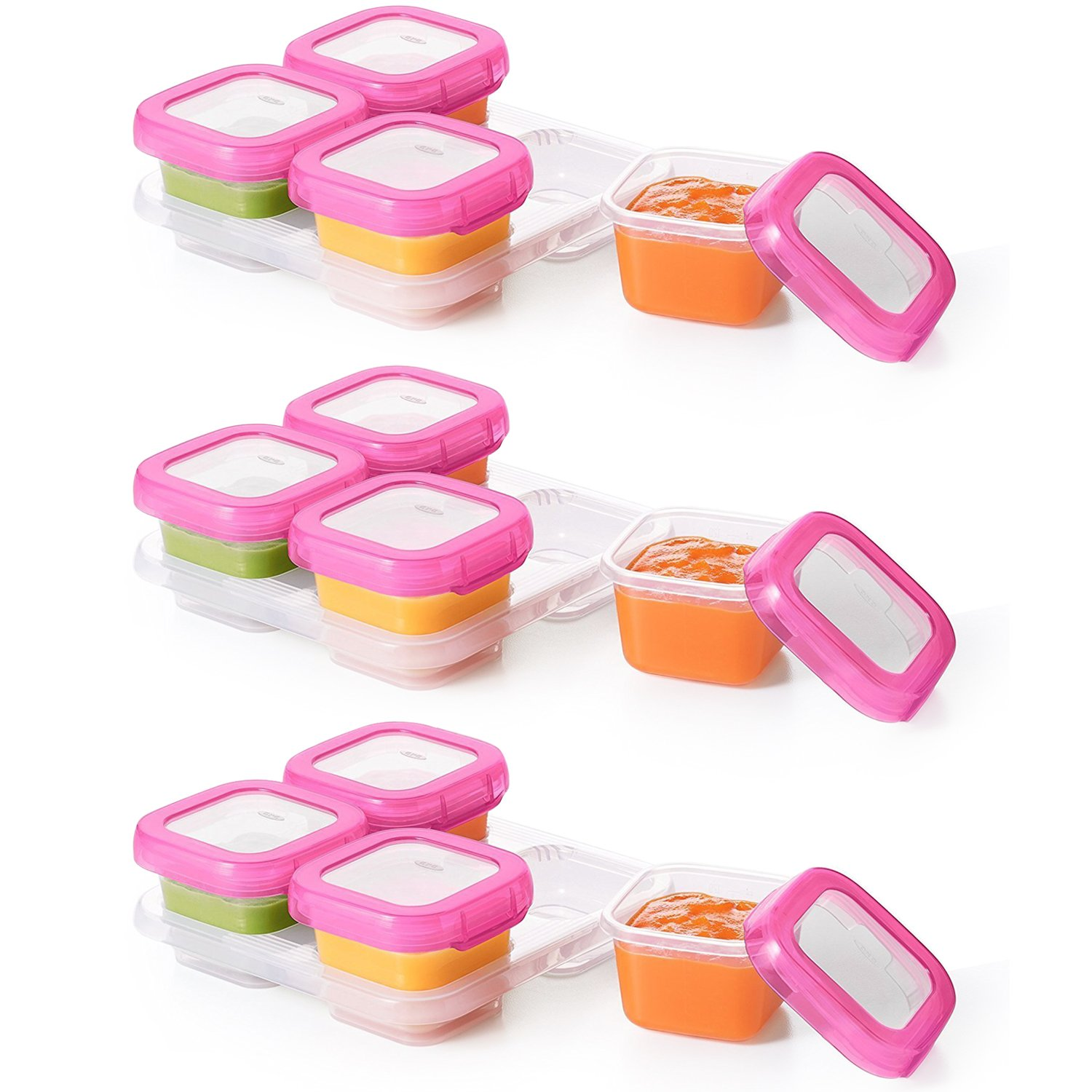 OXO Tot Baby Blocks Freezer Storage Containers, Pink 4 Ounce Set of 12