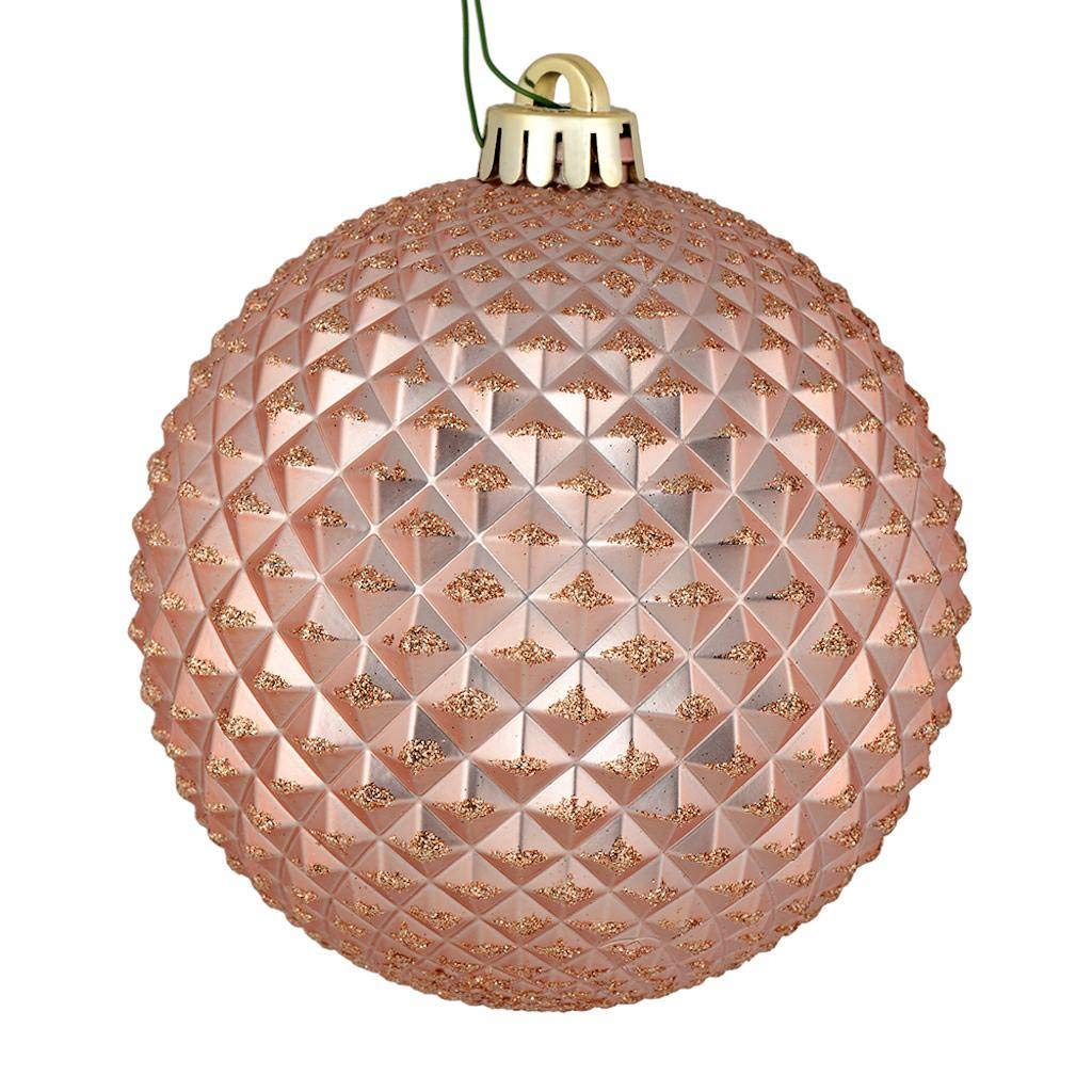 Vickerman 530474 4 Rose Gold Durian Glitter Ball Christmas Tree Ornament 6 Pack N188558d