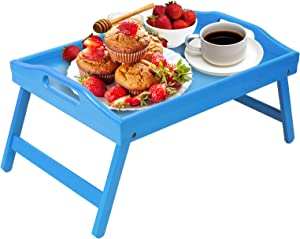 Artmeer Breakfast Tray Folding Legs with Handles Kids Bed Tray Table for Sofa Eating,Drawing,Platters Bamboo Serving Lap Desk Snack Tray (Sky Blue)