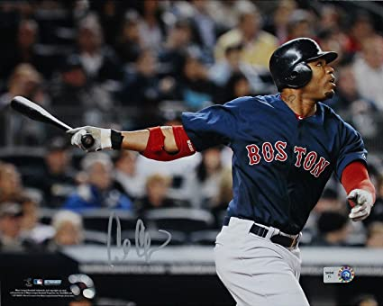 newest 8f659 5d37e Carl Crawford Boston Red Sox Blue Jersey Hit Horizontal 8x10 ...