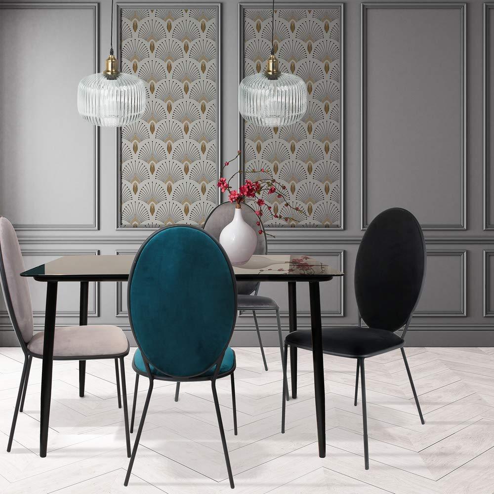 115 x 70 x 75 cm The Home Deco Factory HD6443 colore: Nero Tavolo da pranzo in vetro