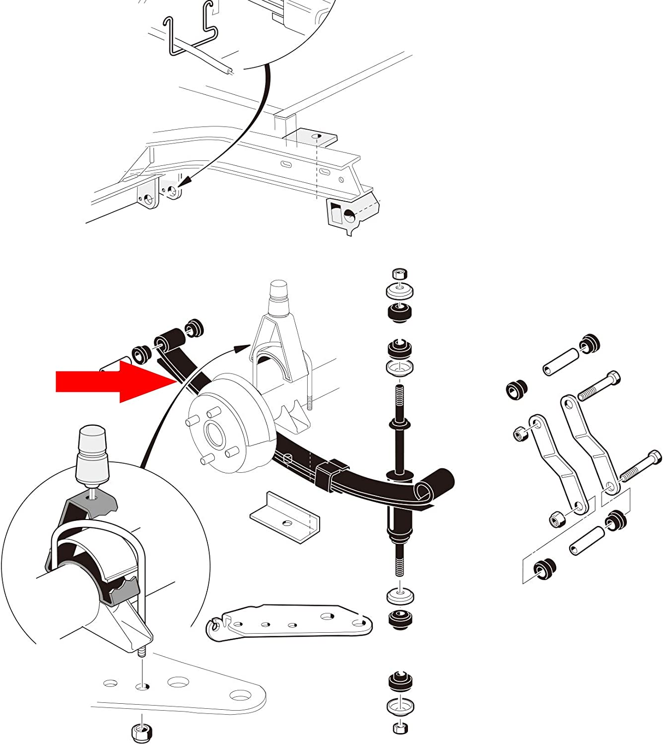 10L0L DS Heavy Duty Rear 3-Leaf Spring Kit with Bushings /& Sleeves for DS Heavy Duty Rear 3-Leaf Spring Kit with Bushings /& Sleeves