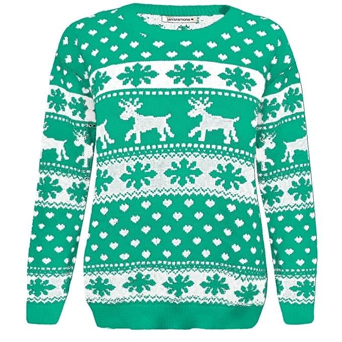 Janisramone ni/ñas ni/ños ni/ños Renos de Navidad Copo de Nieve Novedad Ni/ños de Punto Fairisle de Navidad Saltador de su/éter Top