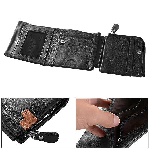 XCSOURCE® Monedero Corto Titular de la Tarjeta de crédito ID Trifold Cuero de los Hombres de la Moneda del Dinero de Bolsillo Monedero Negro MT348: ...
