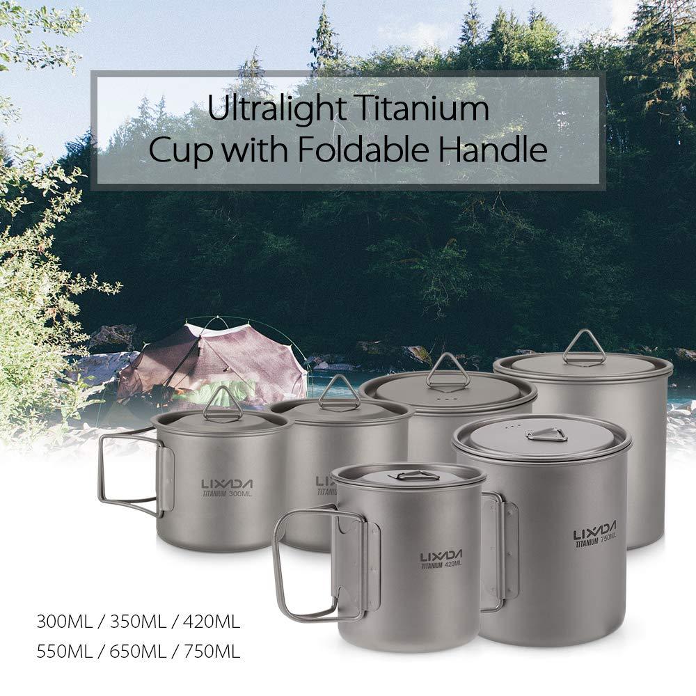 Lixada Titanium Cup Camping Mug Ultralight Foldable Handle with Lid and Stuff Sack Outdoor Titanium Pot (300ml-750ml Optional) (420ML) by Lixada