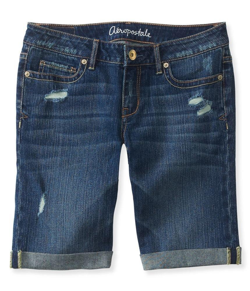 Aeropostale Womens Medium Wash Destroyed Casual Bermuda Shorts Blue 4 - Juniors