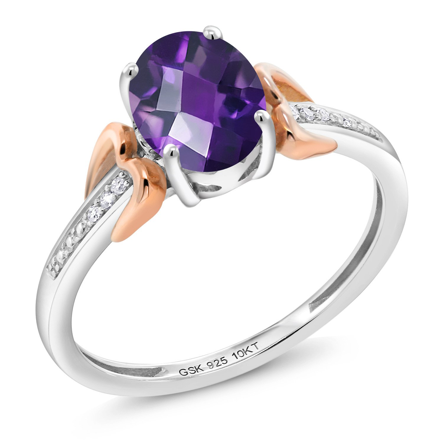 1.00 Ct Oval Checkerboard Purple Amethyst 925 Silver With Diamond 10K Rose Gold Ring (Size 6)
