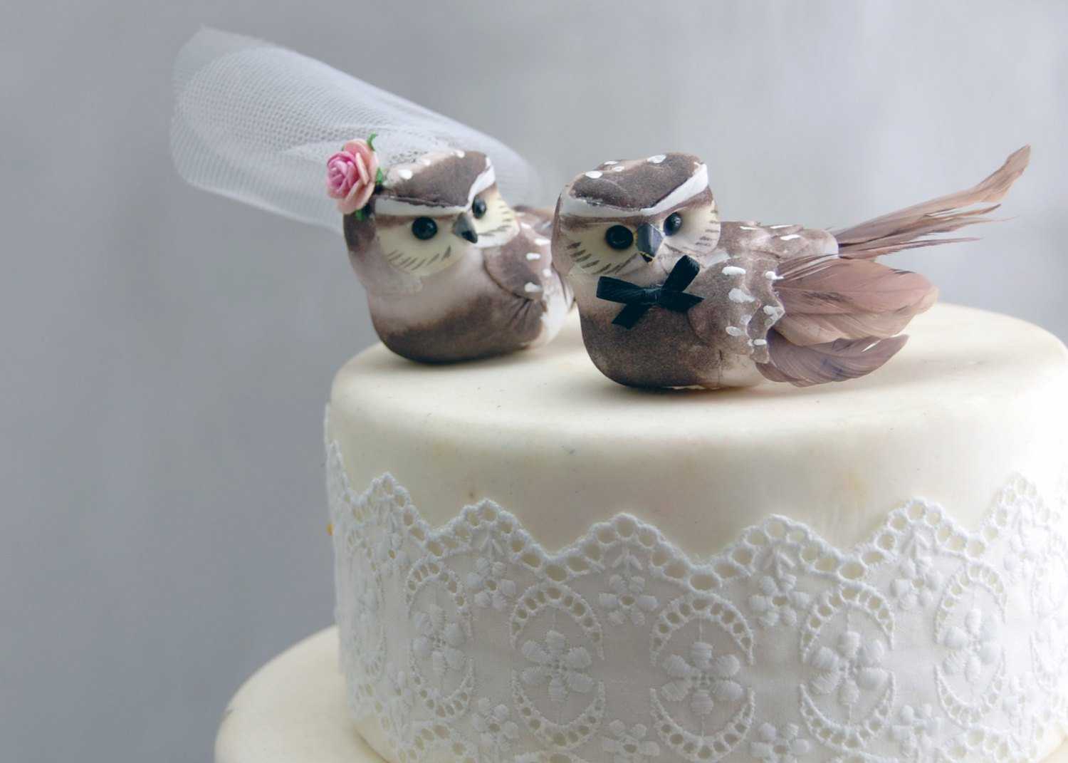Owl Cake Topper in Cocoa Brown: Woodland''Bride and Groom'' Love Bird Wedding by Becky Kazana (Image #2)