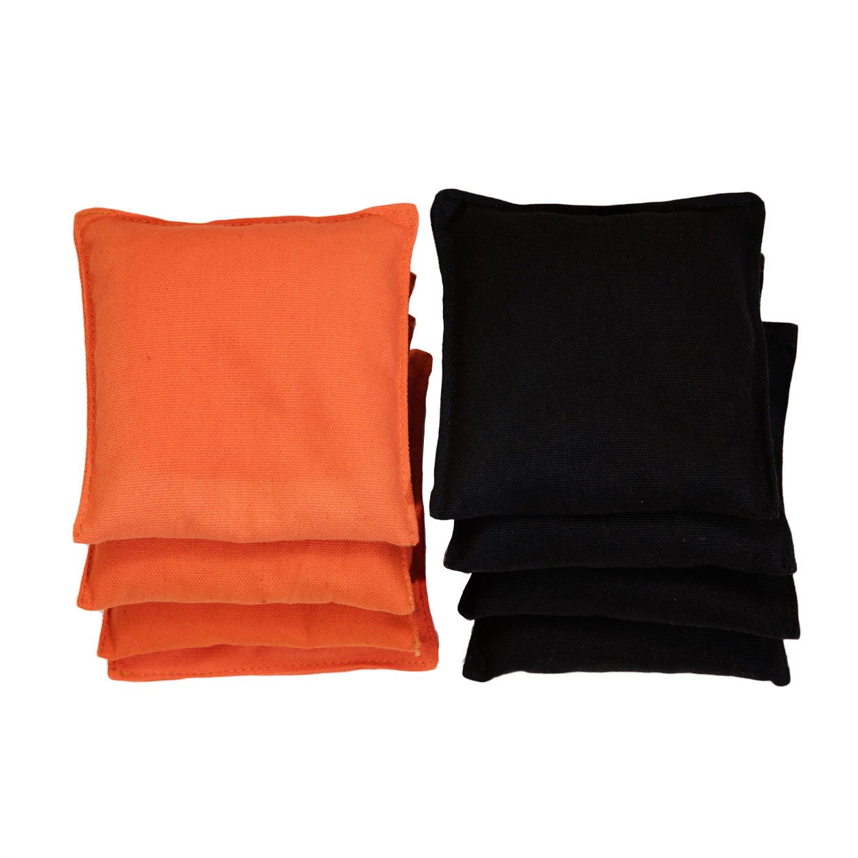 Sports Festival Newest Version Premium All-Weather Duck Cloth Cornhole Replacement Bean Bag Set Total Count 8 (Black & Orange)