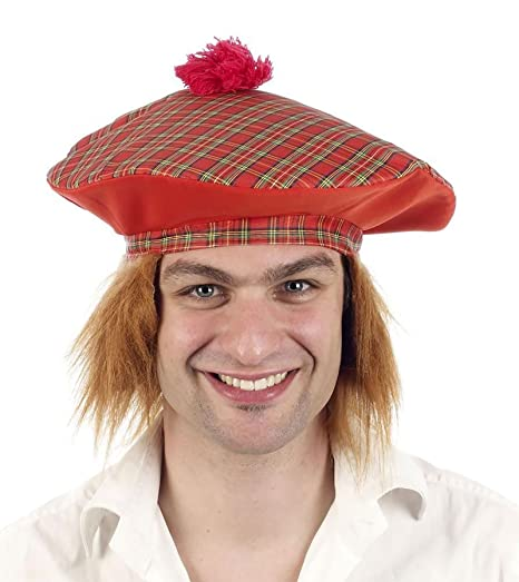 1b109c0e5cb52 MA ONLINE Mens Tartan Hat with Ginger Hair Women Scottish Burn Night Fancy  Dress Accessory One Size at Amazon Men s Clothing store