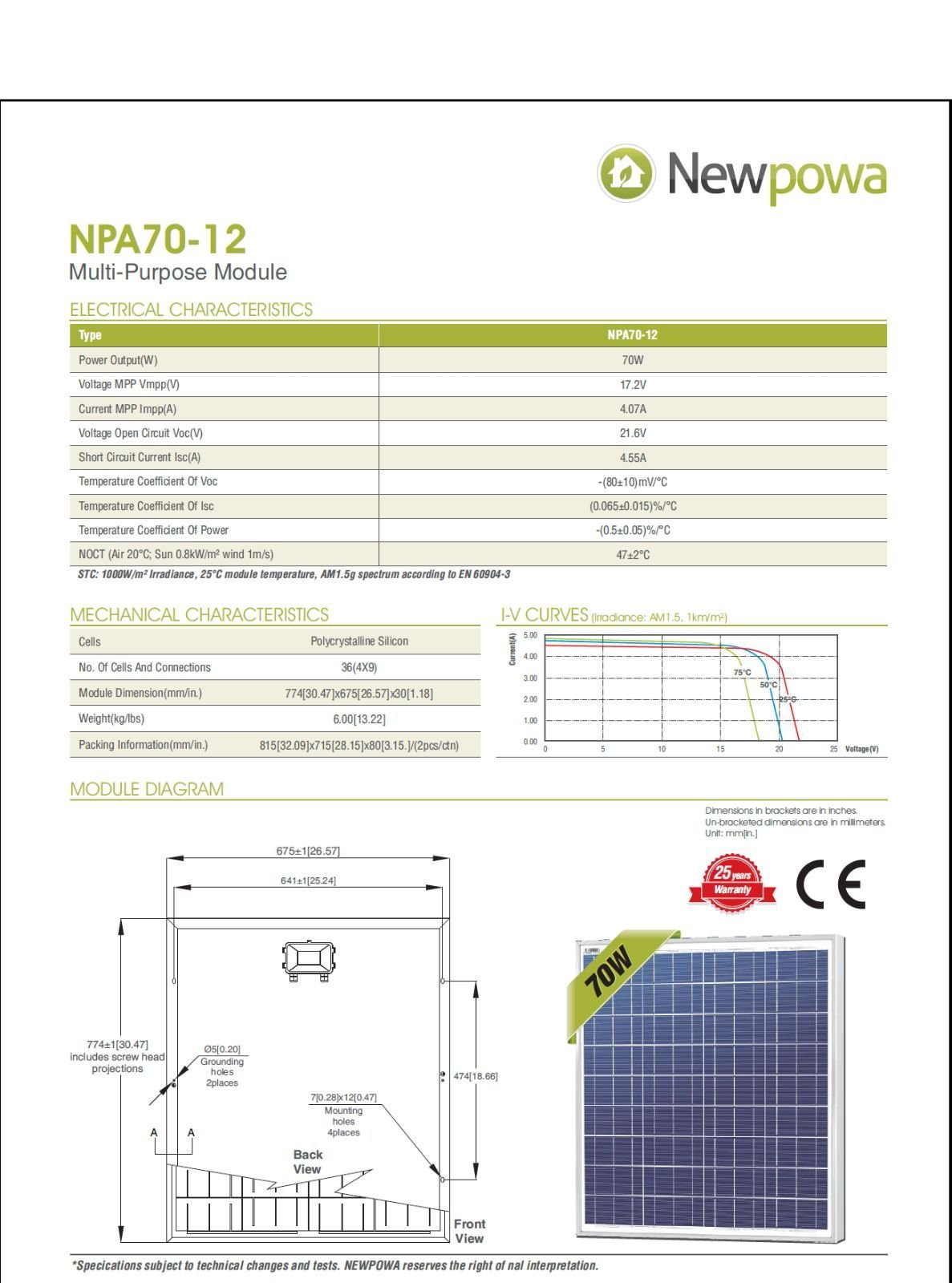 Newpowa 70w Watt 12v Solar Panel + PWM 10A 12v/24v Charge Controller Regulator