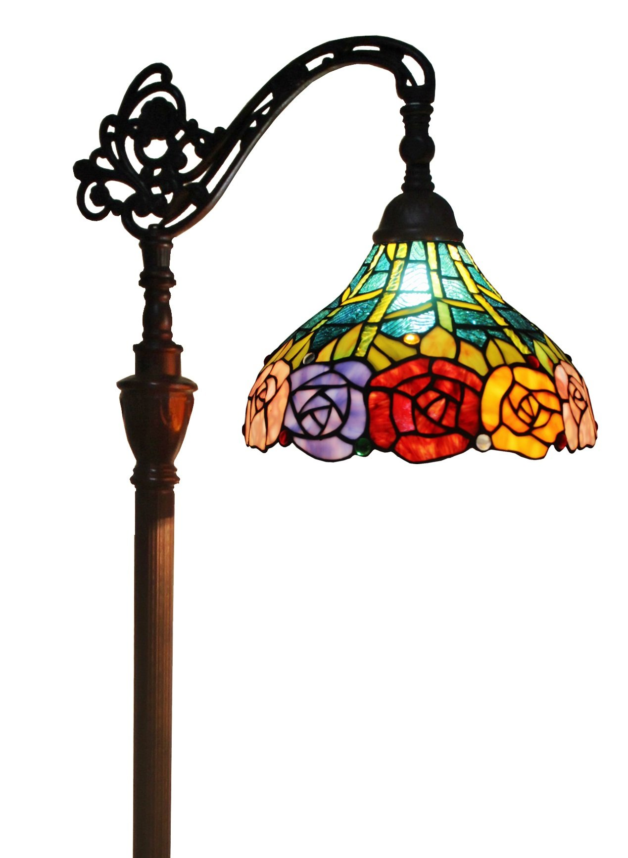 Amora Lighting AM035FL12 Tiffany Style Roses Reading Floor Lamp 62 In by Amora Lighting