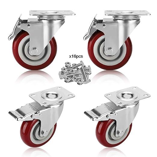 4 Pcs Swivel Caster Wheelsw// Total Locking Brake Locks /& 360 Degrees Rotate